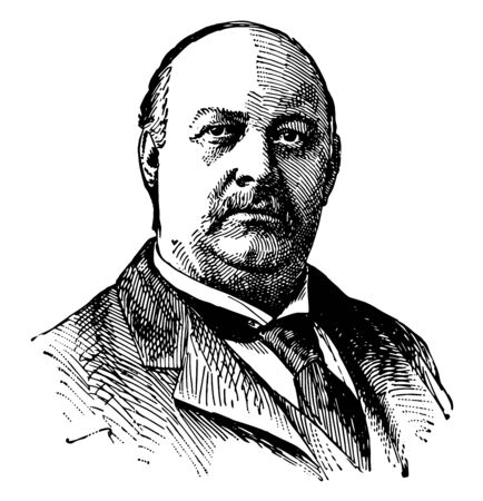 Thomas Brackett Reed 1839 to 1902 he was a United States representative from Maine and speaker of the U.S. house of representatives vintage line drawing or engraving illustration Illusztráció