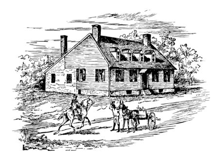 Ferry Farm also known as George Washington Boyhood Home Site or Ferry Farm Site establishes at Fredericksburg George Washington spent much of his childhood vintage line drawing or engraving illustration.