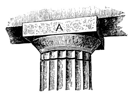 Abacus credence greek roman architecture shelf slab vintage line drawing or engraving illustration.