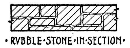 Rubble Stone in Section Material Symbol for foundation plan large rectangular brick used in construction architecture related article is a stub vintage line drawing or engraving illustration.  イラスト・ベクター素材