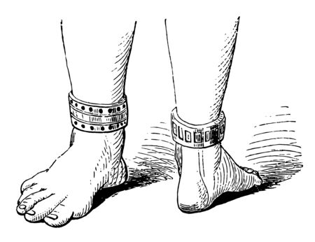 Ankle Bracelet has antique design, vintage line drawing or engraving illustration. Ilustrace