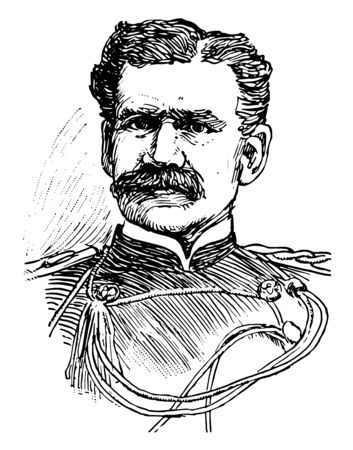 Adna Romanza Chaffee 1884 to 1941 he was a major general in the United States army famous for his role in developing the U.S. Armys tank forces vintage line drawing or engraving illustration