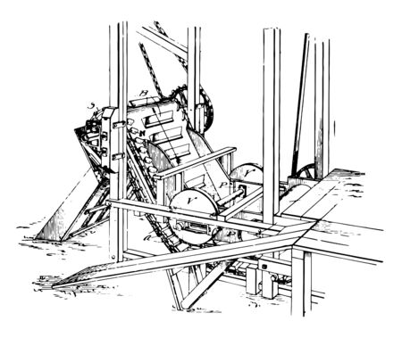 This illustration represents Feeding Machine which has been adapted to feed and push a material with a high consistency vintage line drawing or engraving illustration. Ilustração