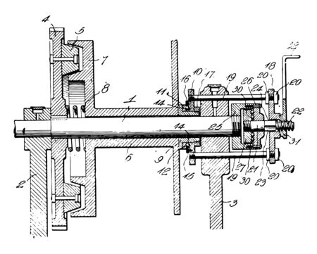 This illustration represents Friction Clutch vintage line drawing or engraving illustration.