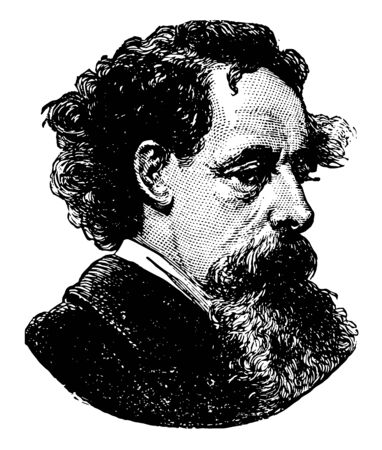 Charles Dickens 1812 to 1870 he was an English writer and social critic one of the most popular English novelists of the Victorian era as well as a vigorous social campaigner vintage line drawing or engraving illustration