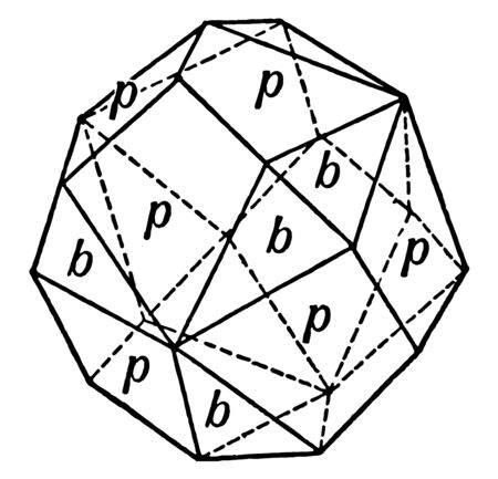 This diagram represents Rhombic Dodecahedron Combined With the Trigonal Tristetrahedron and occurs on Zincblende, vintage line drawing or engraving illustration. Ilustrace