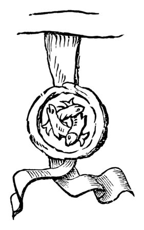 The official seal of Sir Thomas Lucy a magistrate who persecuted recusant Catholic families. The seal consists of three white luces interlaced vintage line drawing or engraving illustration