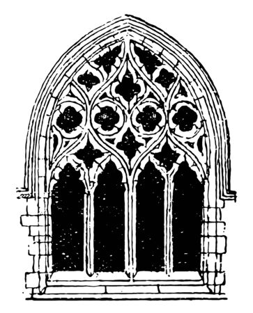Small Gothic Window Tracery commonly found in Gothic architecture, rather arbitrary categories, during the fourteenth century, vintage line drawing or engraving illustration