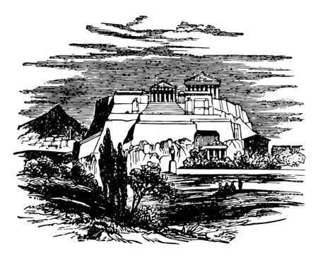 Acropolis or cities of Greece artificial defences Asia Minor vintage line drawing or engraving illustration.