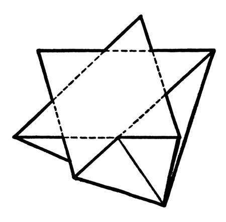 This diagram represents Tetrahedrite Penetration Twin and symmetrical to the octohedral face, vintage line drawing or engraving illustration.