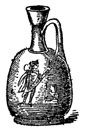 Aryballos Jar for unguents its was a small spherical or globular flask with a narrow neck used in Ancient Greece vintage line drawing or engraving illustration.