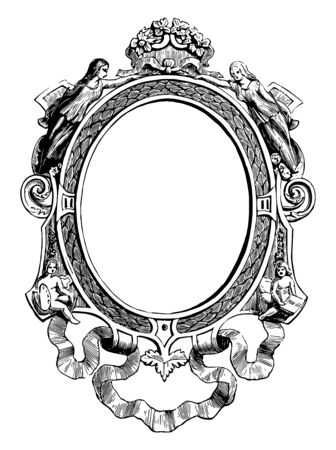 Miniature Frame is made out of gold and oxidized silver vintage line drawing or engraving illustration. Иллюстрация