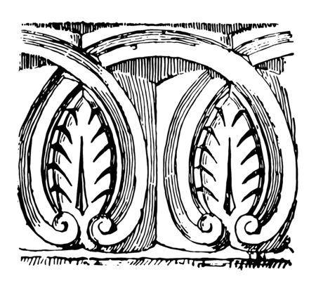 Anthemion are Anglo to Norman pattern vintage line drawing or engraving illustration.