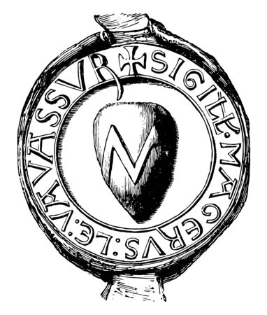 Seal of Vavassour have the heraldic seal vintage line drawing or engraving illustration. 일러스트