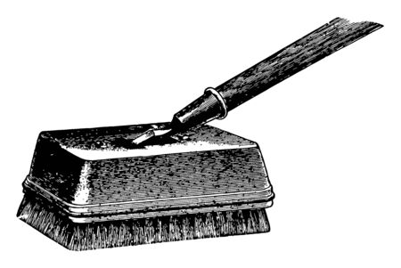 This illustration represents Angular Bristle Fresco Brush which is used for polishing waxed floors vintage line drawing or engraving illustration.
