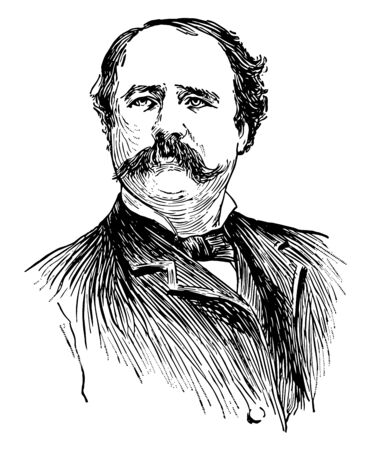 Garret Augustus Hobart 1844 to 1899 he was the 24th vice president of the United States from 1897 to 1899 vintage line drawing or engraving illustration
