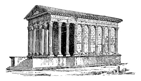 A Roman Temple Located at Nimes in southern France known as La Maison Carree the square house vintage line drawing or engraving illustration.