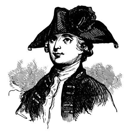 Edmund Fanning 1739 bis 1818 war er ein britischer nordamerikanischer Kolonialverwalter, Militärführer und Leutnant des Gouverneurs von Nova Scotia, Vintage-Linienzeichnung oder Gravierillustration