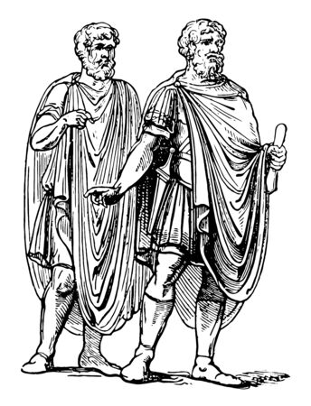 Abolla was a cloak chiefly worn by soldiers vintage line drawing or engraving illustration.
