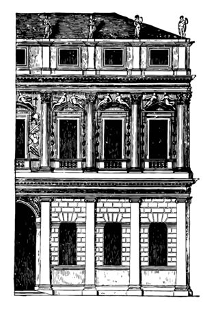 Façade of a Palace at Vicenza is generally of rustic work the upper storeys have pilasters pilasters or arcades are introduced on the ground to floor vintage line drawing or engraving illustration.
