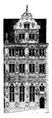 Façade of the Building of Henry the Wise in Heidelberg Castle 1601 to 1607 a famous ruin in Germany landmark of Heidelberg intermediate station the Heidelberger Bergbahn runs from Heidelbergs Kornmarkt vintage line drawing or engraving illustration.