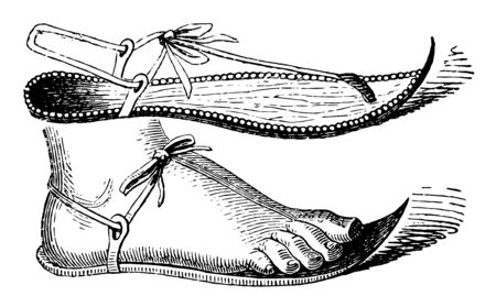 Egyptian Sandal with a curved front in this picture, vintage line drawing or engraving illustration. Ilustracja
