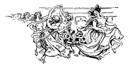 Woman Dancing is moves during a break and beauty or death and desire it have soulful articulation of unspoken truths vintage line drawing or engraving illustration. Ilustração