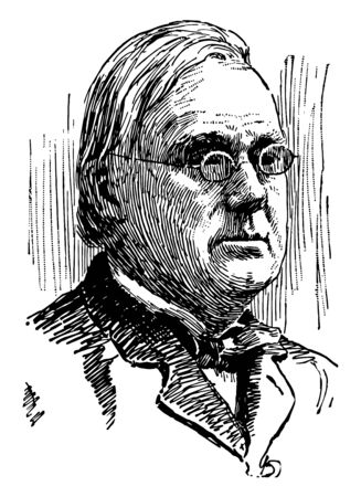 George Frisbie Hoar 1826 to 1904 he was a prominent American politician and United States senator from Massachusetts vintage line drawing or engraving illustration