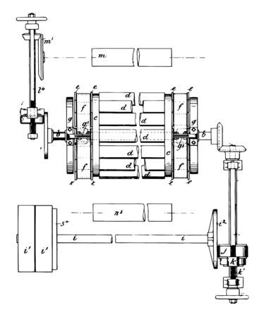 This illustration represents Cloth Napping Machine used for Teaseling Woolen Cloth, vintage line drawing or engraving illustration. 일러스트