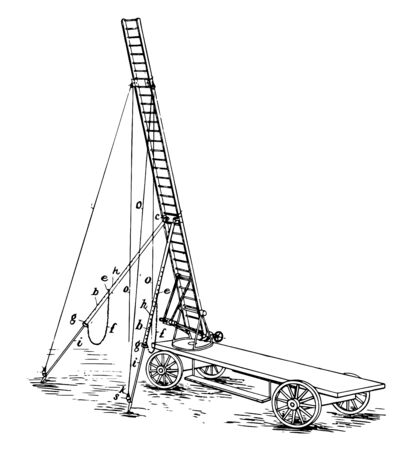 This illustration represents Four Wheeled Cart Mount for Ariel Ladder vintage line drawing or engraving illustration. Illustration