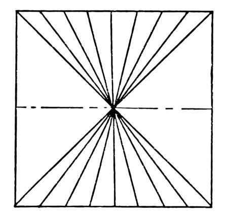 Vanishing Point Using Lines is drawn by placing a dot into the middle of the paper then draw the lines it is a plane where the projections of a set of parallel lines in space intersect vintage line drawing or engraving illustration.