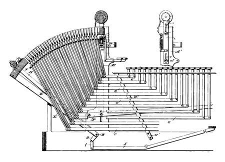 This illustration represents Linotype machine is a line casting machine used in printing vintage line drawing or engraving illustration.