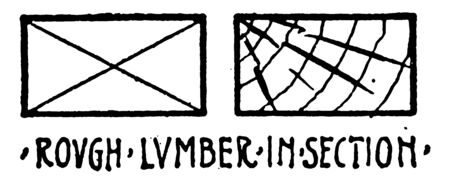 Rough Lumber in Section Material Symbol using cross hatching technique for brass and consumed or put into production similar materials in other forms of English vintage line drawing or engraving illustration.