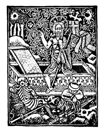 Leiden Christi was printed by German artist Albrecht Pfister in 1470 vintage line drawing or engraving illustration.