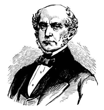 Charles Francis Adams 1807 to 1886 he was as an American lawyer writer politician and diplomat vintage line drawing or engraving illustration