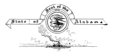 The United States seal of Alabama below the seal one vessel is going in center an eagle with raised wings alighting upon shield with three arrows in his left talon vintage line drawing or engraving illustration