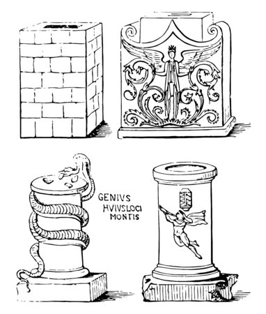 Altars either square or round from ancient sculptures East Syrian Rite appearance to Armenian altars heavily decorated vintage line drawing or engraving illustration.