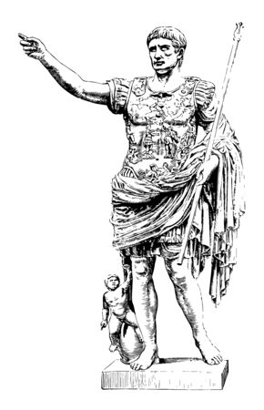 Augustus are a marble statue In the vatican vintage line drawing or engraving illustration.