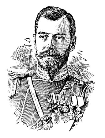 Nicholas II was czar of Russia king of Poland and grand duke of Finland vintage line drawing or engraving illustration. Ilustrace