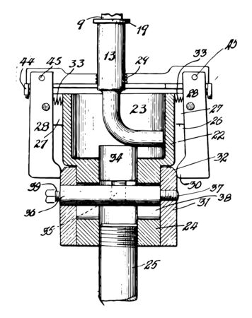 This illustration represents Pipe Fitting Threading Machine vintage line drawing or engraving illustration. Çizim