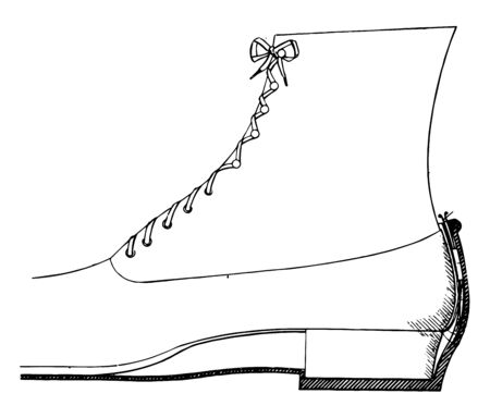 Overshoe Fastening Device are conventional articles of clothing vintage line drawing or engraving illustration. 向量圖像