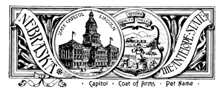 The state banner of Nebraska the antelope state this seal has two circles in center one has state house other one has train and mountains in the background blacksmith steamboat vintage line drawing or engraving illustration Stockfoto - 132819697