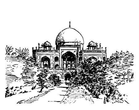 Tomb of Sultan Humayun where India is an example of Indo Saracenic architecture vintage line drawing or engraving illustration.