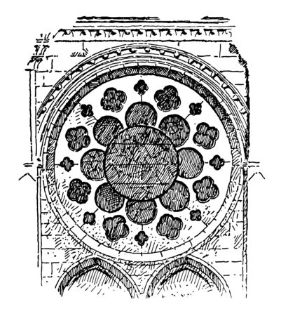 Plate-tracery in which the openings are cut or pierced, architecture prior to the early 13th century, cut out of a flat plate of masonry, vintage line drawing or engraving illustration.