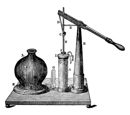 This illustration represents Single Barrel Air Pump which is used for taking the air out of a vessel vintage line drawing or engraving illustration.