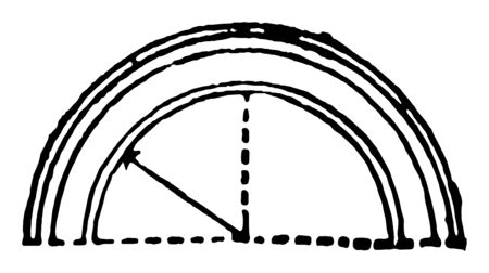 Arch Semicircle Brick structures range vintage line drawing or engraving illustration