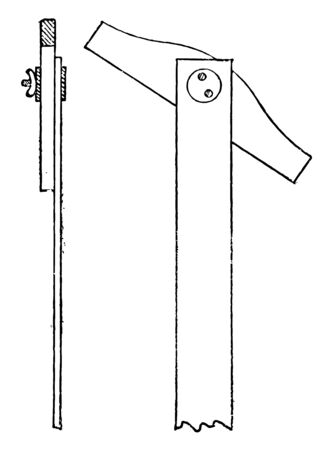 Taper Head Adjustable T Square Side and Front View is the washers must be large and clamp screws of hard metal it is coupled to the housing and arranged to engage an edge of the pane vintage line drawing or engraving illustration.