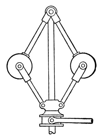 This illustration represents Governor with the Balls Connected to the Base for Steam Engine vintage line drawing or engraving illustration.