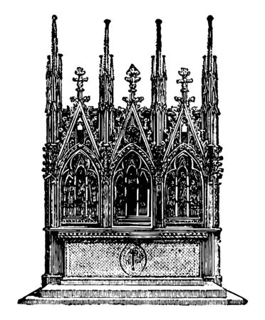Gothic Altar is an erection made for the offering sacrifices for memorial purposes designed for sacrifice is mentioned Scripture as early as the time of Noah vintage line drawing or engraving illustration. Ilustracja