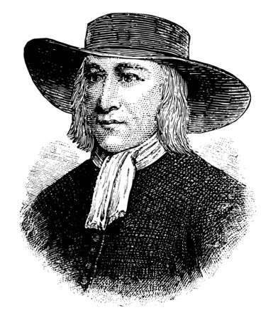 George Fox 1624 to 1691 he was an English Dissenter and founder of the Religious Society of Friends vintage line drawing or engraving illustration